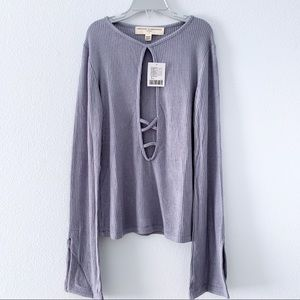 Urban outfitters cross front long sleeves top